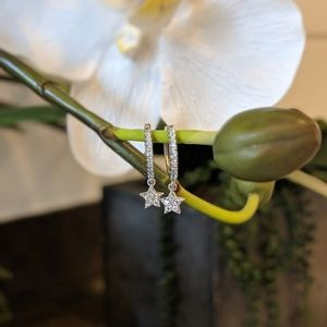 Jewelry - Silver earrings with hanging star with diamonds